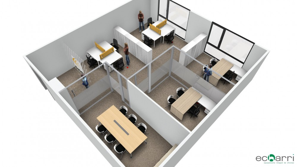 Equipamiento de mobiliario en oficina comercial echarri for Planos de oficinas administrativas